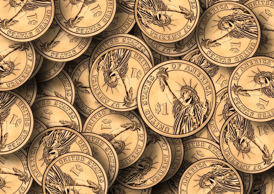ドル, コイン, お金, 通貨, ファイナンス, 富, 貯蓄, 私たちのドル