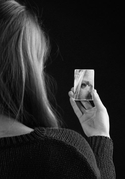 Menina, Espelho, Preto