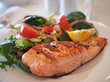鮭, 皿, 食品, 食事, 魚, 魚介類, プレート, おいしい, ダイニング