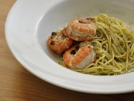 Spaghetti, Shrimp, Italian, Food, Dinner