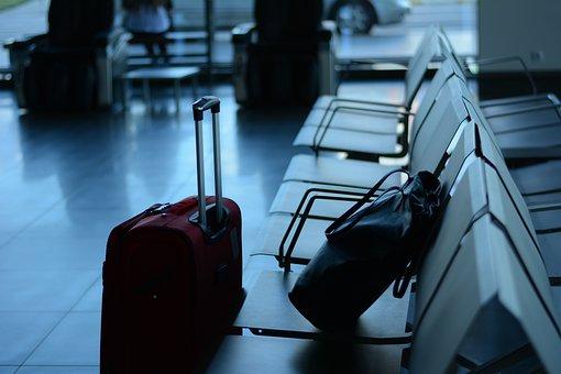 空港, 旅行, 旅行者, ビジネス, スーツケース, 出発, ツアー, 観光