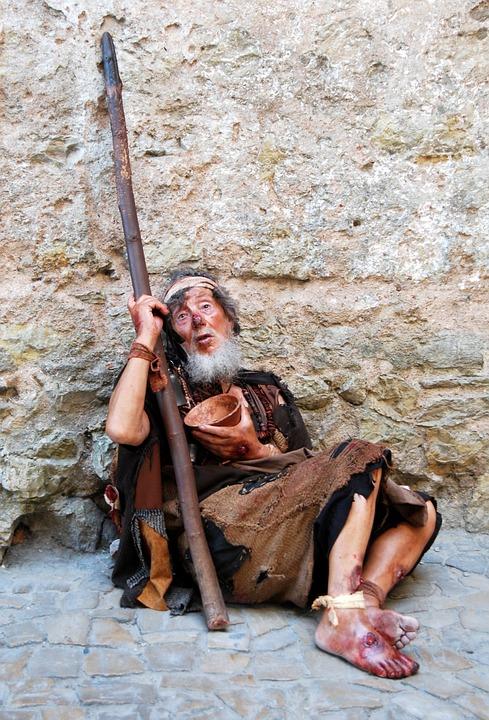 乞丐, 可怜, 令人心碎, 悲惨, 棍子, 衣衫褴褛, 衣衫褴褛的儿童, 碗
