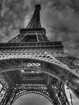Paris France Eiffel Tower Black And White