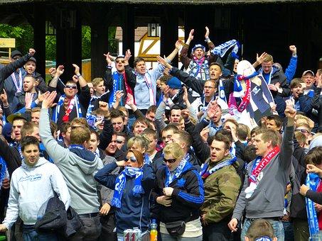 ファン, 祝う, 応援, サッカー, 人間, 個人
