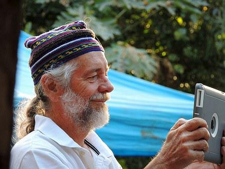 Old, Man, Technology, Senior, Smile