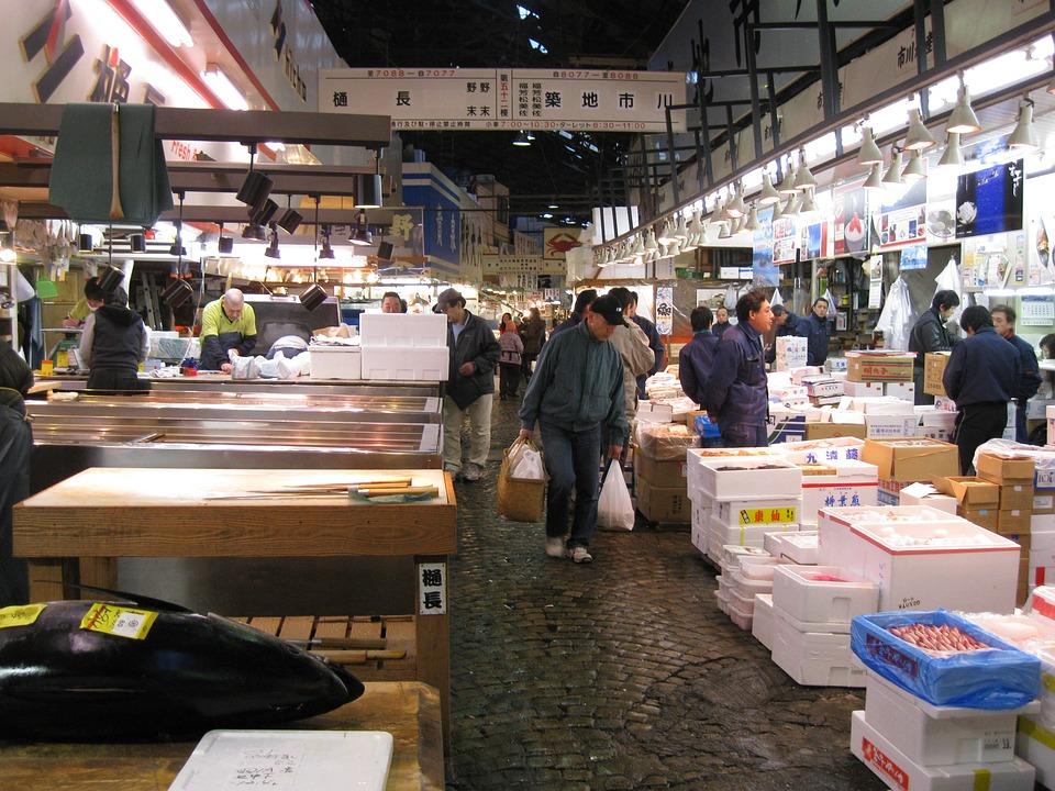 日本, 東京, 魚, 市場, 築地, 観光, 魅力