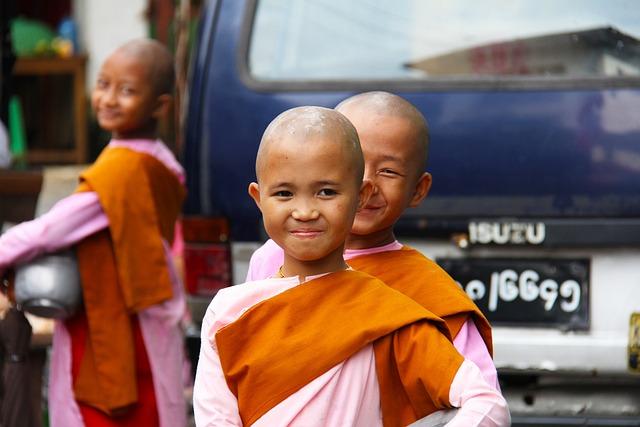 buddhist nuns girls young people myanmar asia
