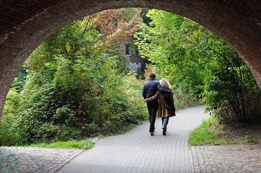 Bridge, Pair, Couple, Man, Woman, Walk