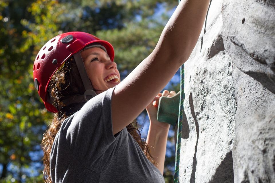Climbing, Girl, Fun, Happy, Rock Climbing, Rock Wall