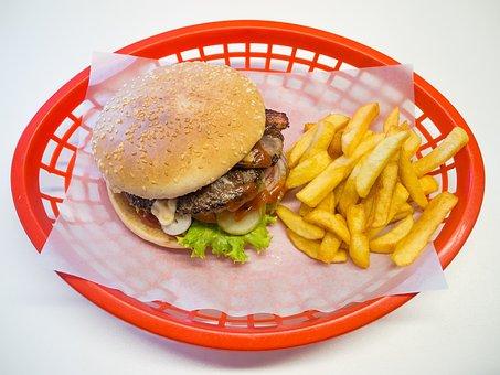 Hamburger, Burger, French, Junk Food