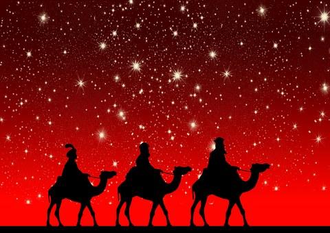 聖なる 3 人の王, ラクダ, 乗る, クリスマス, スター, 光, 出現