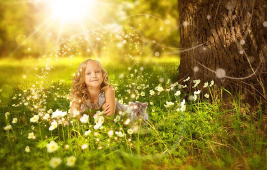 Girl, Cute, Nature, Happy, Child