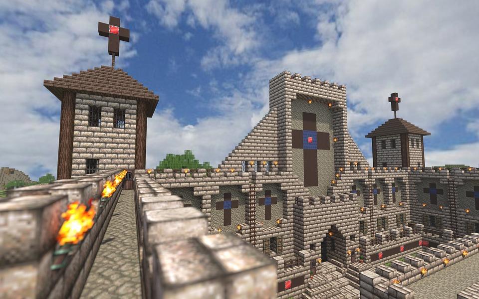 Minecraft, Castillo, Hacer, Videojuego
