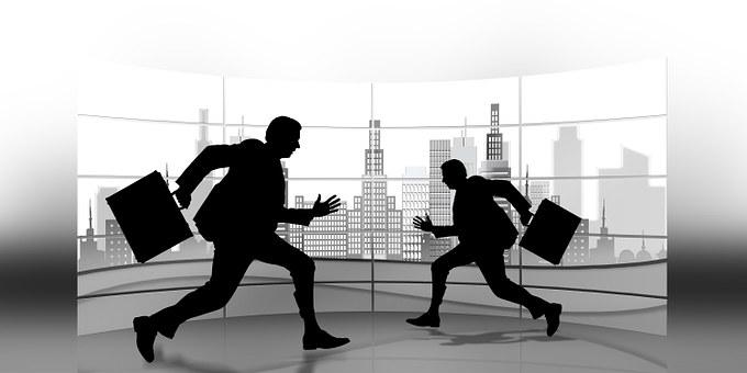 ビジネスマン, 実業家, 超高層ビル, 市, 作業を開始, 慌ただしさ