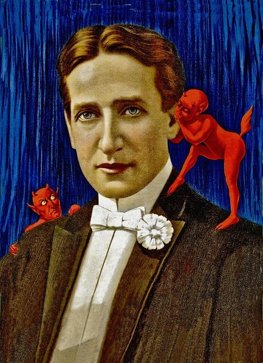 Mal, Démons, Devils, Personnes, L'Homme, Vintage