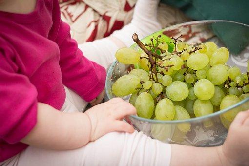 葡萄, 赤ちゃん, ピンク, 食べ物, 栄養, ボウル, フルーツ, 健康