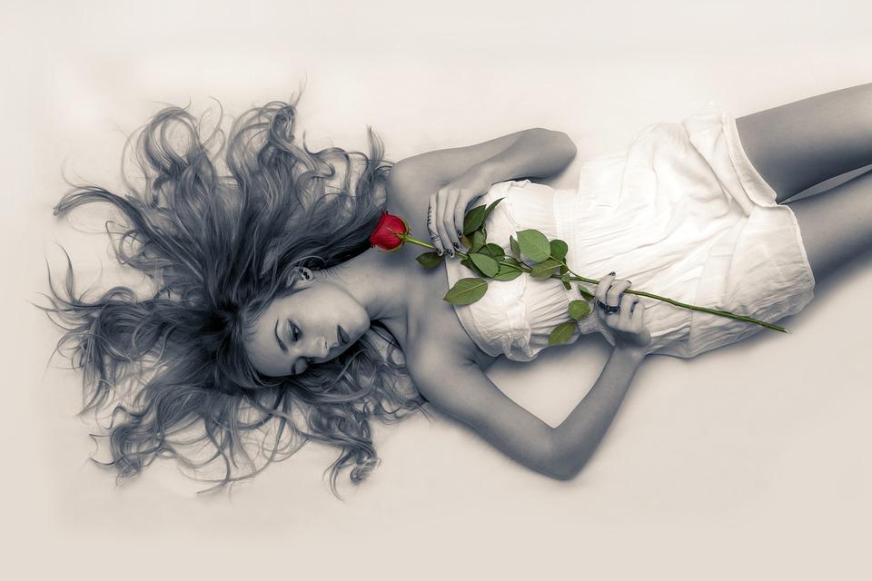Kobieta, Wzór, Młody, Rose, Leżący, Kobiet