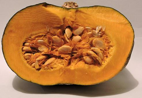 Pumpkin, Half, Seed, Yellow, Cut