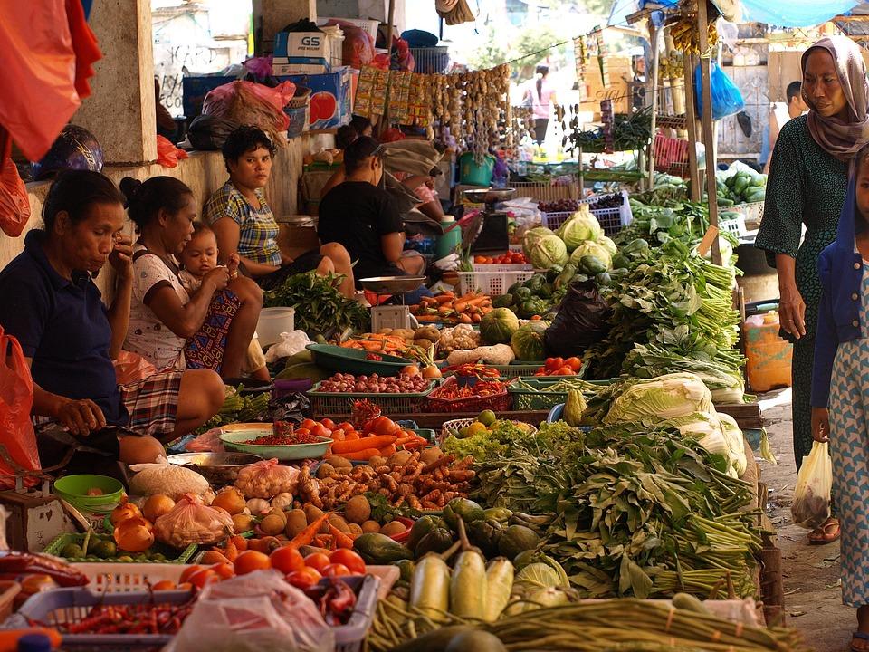 インドネシア, アジア, 市場, ストリート シーン