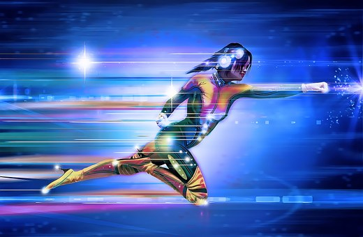 Superhero, Girl, Speed, Runner, Running
