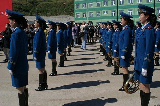 パレード, 女性, 北朝鮮, 音楽