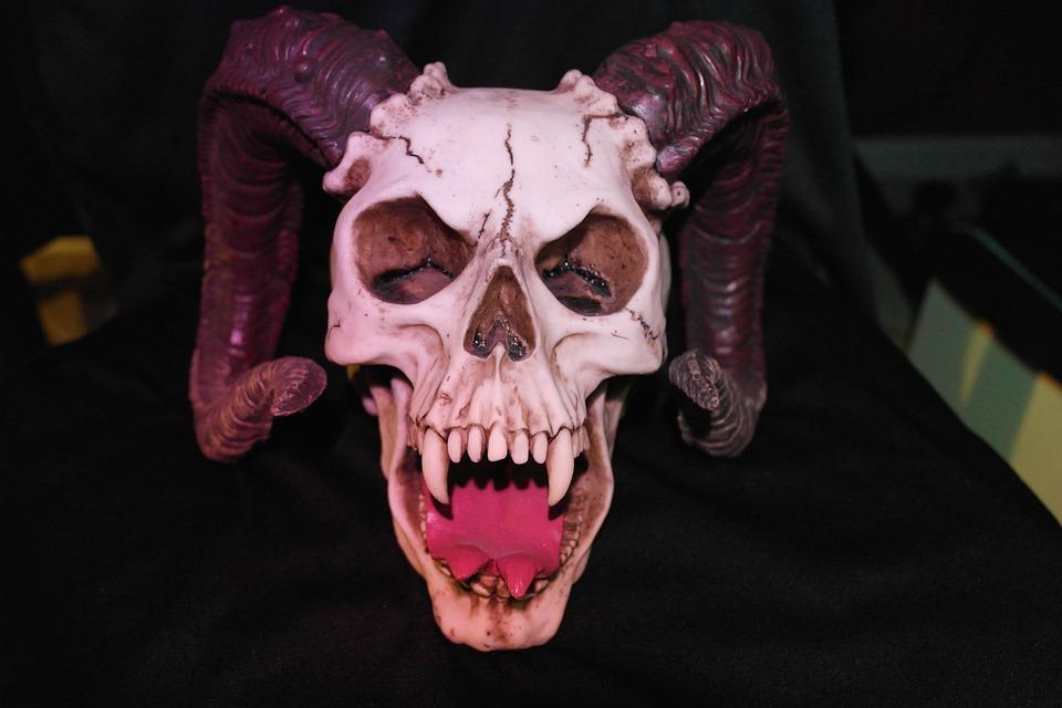 Crâne À Cornes, Monstre, Crâne, Mal, Diable, Horreur