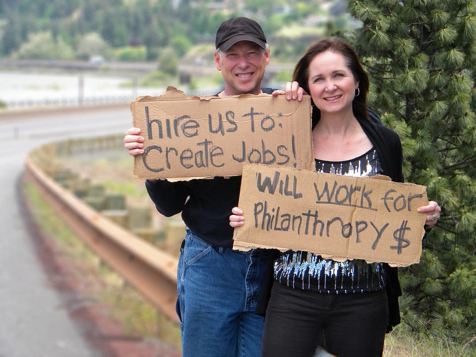 Job Hunting, Man, Woman, Jobless, Cardboard Signs