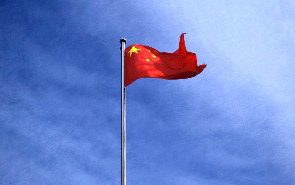 Bandera, Volar, China, Beijing, Color, Cielo Azul, Rojo