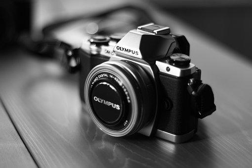 カメラ, オリンポス, デジタル カメラ, 白黒, 写真, 写真家