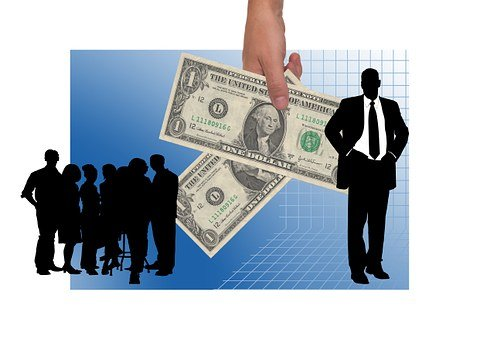 A female hand handing down dollar bills with silhouted figures on both sides to signify commission payment