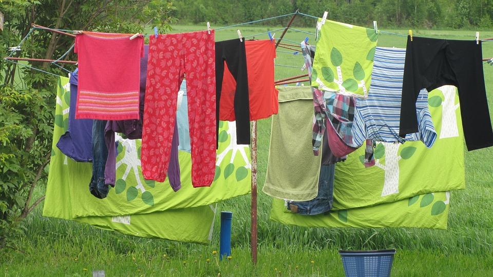 洗濯物, 衣類, 緑, 夏