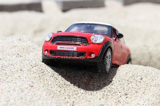Toy, Car, Mini Cooper, Beach, Mini, Car