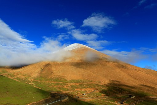 Mountain, Tibet, Blue Sky, The Scenery