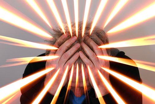 Man, Hands, Flame, Burn, Fire, Headache, Stress, Signs of a Third Eye Chakra Blocked, Ajna