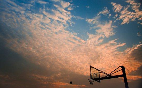 バスケットボール, クラウド, スカイ, 青空·
