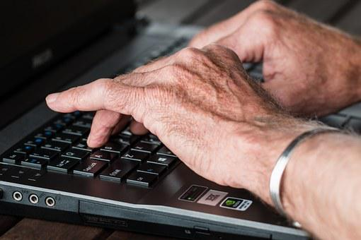 Hands, Old, Typing, Laptop, Internet
