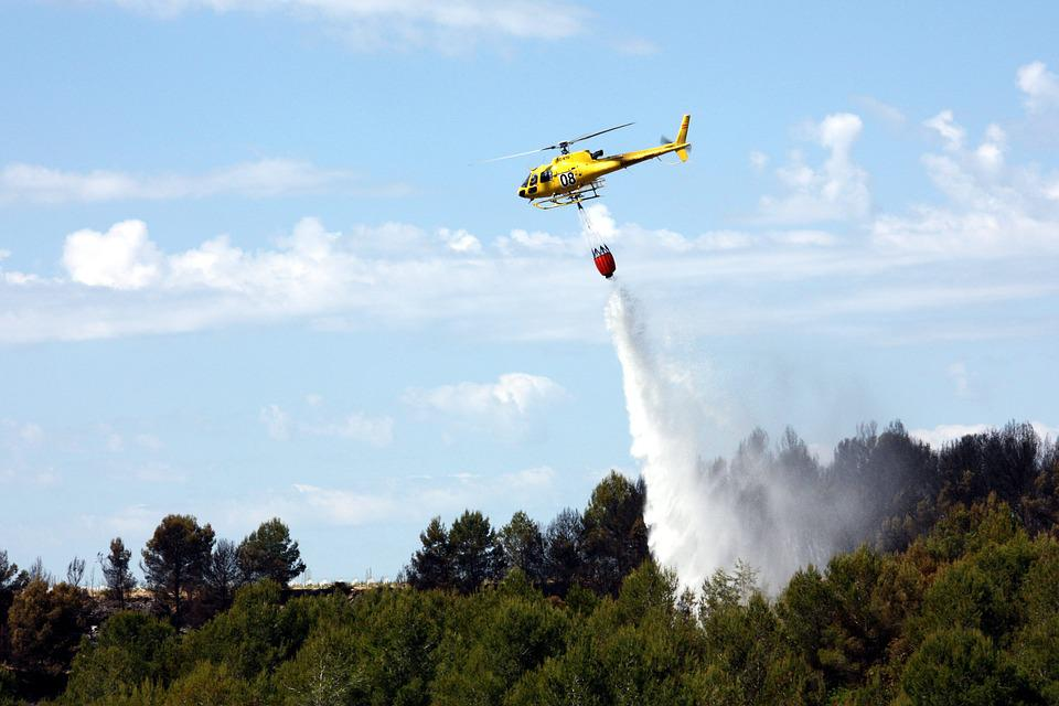 Free photo: Helicopter, Seaplane, Forest, Fire