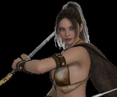 Beautiful warrior women sword
