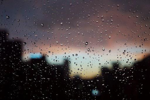 Raindrops, Sunset, Window, Depression