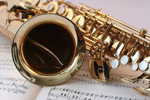 サックス, 音楽を, 音楽, 金, 光沢, Notenblatt, キー, 楽器