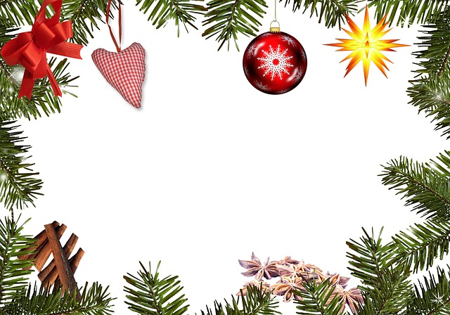 Frame fir green decoration free image on pixabay for Poinsettia christmas tree frame