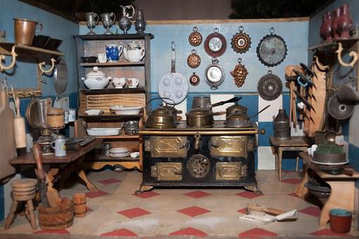 Dolls Kitchen, Toys, Old, Antique, Play