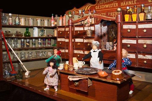 Penjual Bahan Makanan, Mainan, Tua
