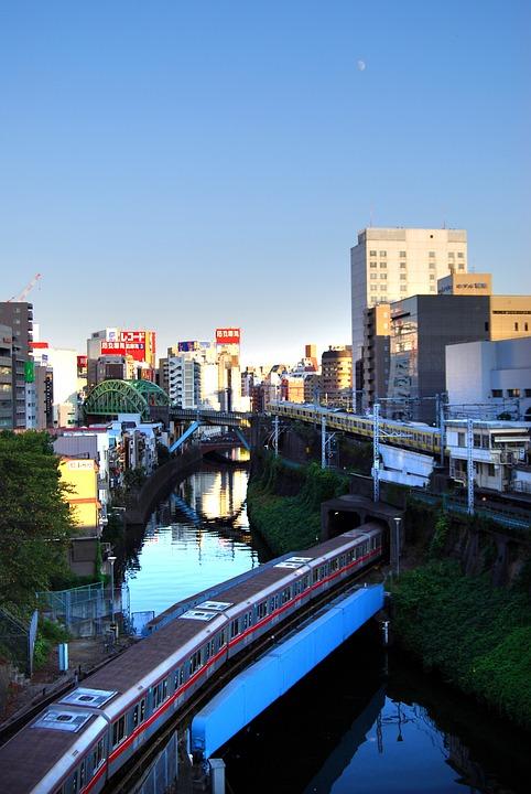 お茶の水, 電車, 秋葉原, 東京, 都心, 都会, 都市, 川