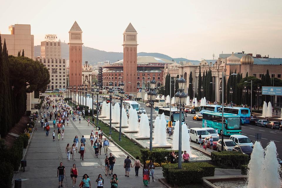 Barcelona, Spain, Fountain, Water, Drops, Sun, Summer