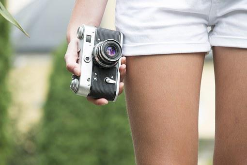 Girl, Camera, Old, Retro, Holds, Travel