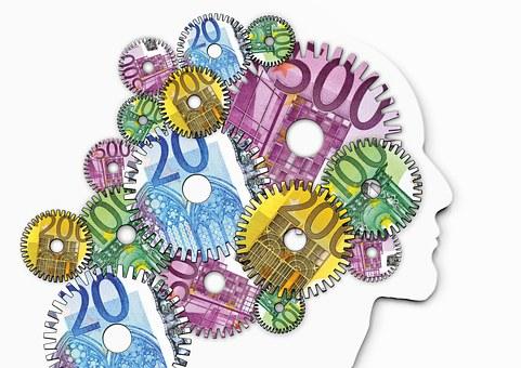 思考, 思う, プシュケ, 心理学, 頭, 顔, シルエット, クロック, 時間