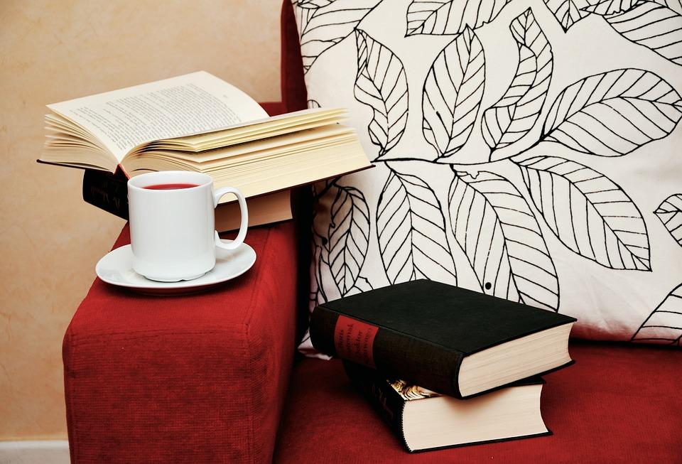 Книги, Прочети, Проучване, Диван, Чаша, Паса, Уют