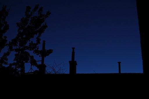 Chimenea, Oscuro, Por La Noche