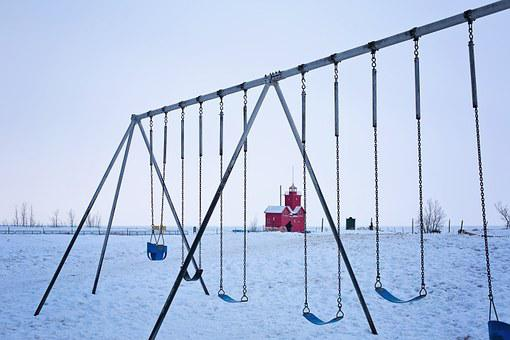 Playground, Swings, Swing Set, Winter